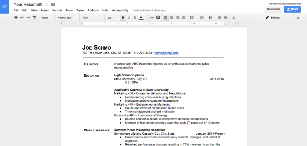 your resume google docs